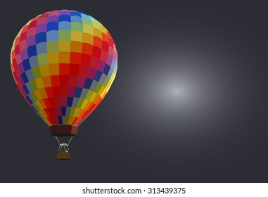 Hot air balloons - background Colorful hot air balloons against gray background with space for text.