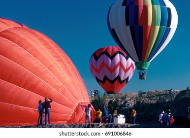 Hot air balloons begin launch in New Mexico.