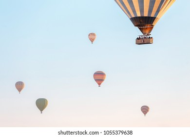 Hot air balloons in the blue sky, active leisure or adventure of a dream concept