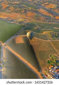 Des montgolfières survolent les vignes à Temecula, en Californie.  C'est une attraction touristique populaire dans cette zone touristique de vacances.