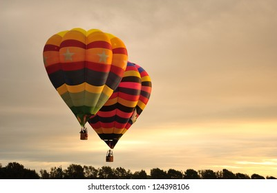 Hot air balloons flying during festival at Levin, New Zealand
