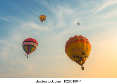 Hot air balloons flying on the sky during sunrise, Landscape photography
