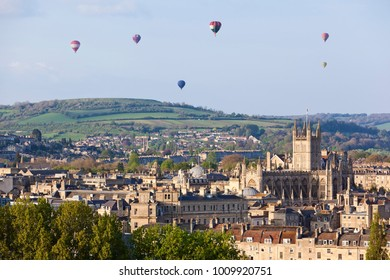 Hot air balloons flying over the city of Bath in England, UK.