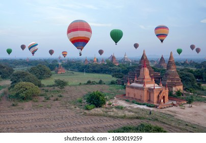 Hot air balloons flying over Bagan Archaeological zone, Mandalay division, Myanmar