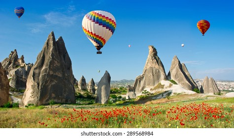 Hot air balloons flying over a field of poppies and rock landscape at Cappadocia, Turkey