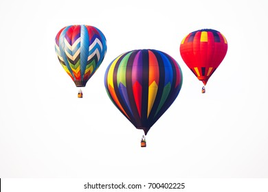 hot air balloons on white