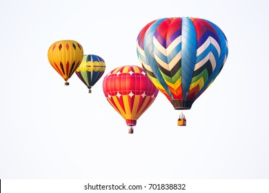 hot air balloons on white background