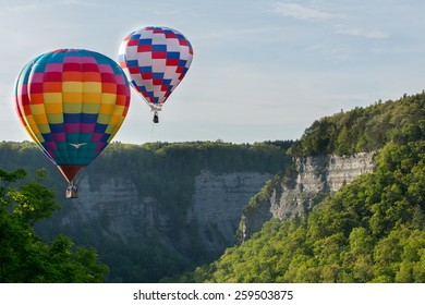 Hot air balloons over the gorge at Letchworth State Park.