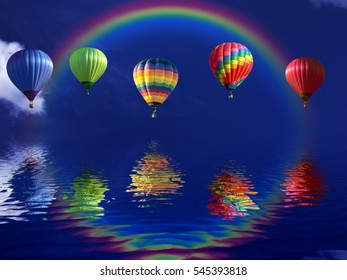 Hot air balloons over rainbows with reflection sea