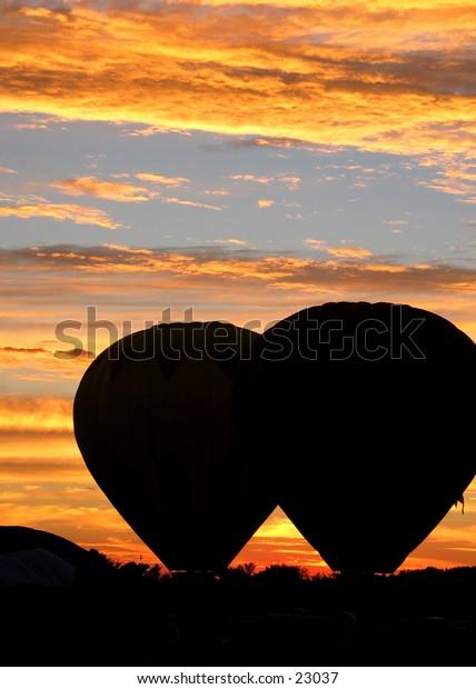 Hot air balloons at sunset