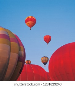 Hot air balloons taking of on a sumer evening