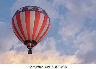 Hot air baloon in summer sky