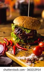 Hot American burgers, traditional cuisine