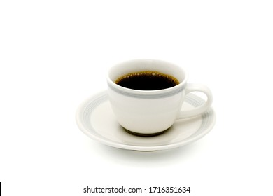 Hot americano coffee in a glass On a white background
