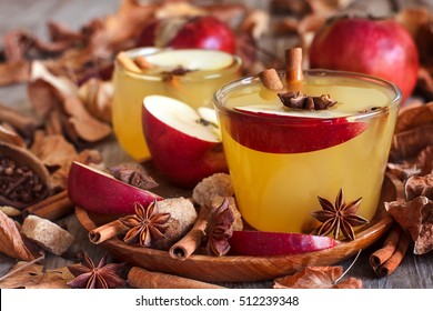 Hot apple cider with cinnamon sticks and spices on fall leaves background