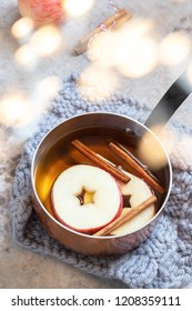 Hot apple cider cocktail with fall cinnamon and star anise
