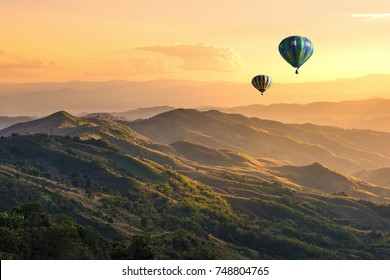 Hot balloon air over doi Chang at sunset ,Chiang Rai, Thailand.