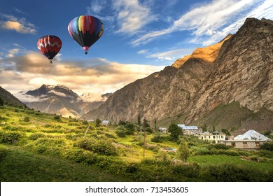 Hot balloon air over Jispa town, Lahaul valley, Himachal Pradesh, India.