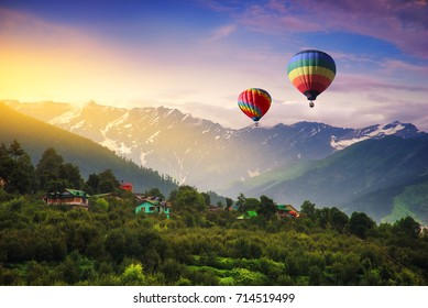 Hot balloon air over Manali, India.