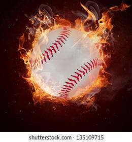 Hot baseball ball in fires flame