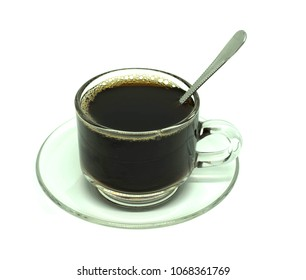 Hot Black coffee in Cup White background