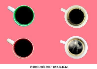 Hot black coffee, four glasses on pastel pink background, with top view, Concept, relaxation with bright colors.