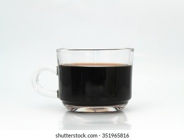 hot black coffee in a glass coffee cup