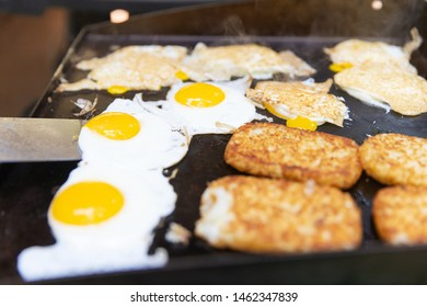 Hot breakfast cooked on a flat grill