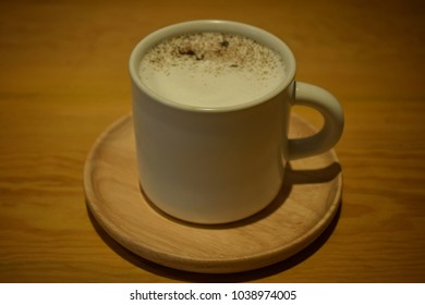 Hot Cappuccino, Milk Froth, White Ceramic Mug