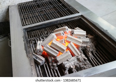 hot charcoal in the stove