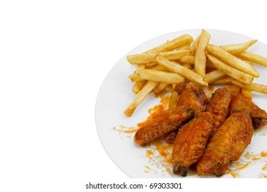 Hot Chicken Wings and French Fries Isolated on White