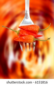 hot chili in a fork