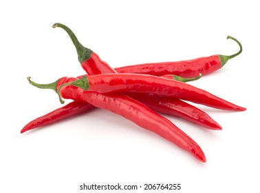 Hot chili peppers isolated on white background
