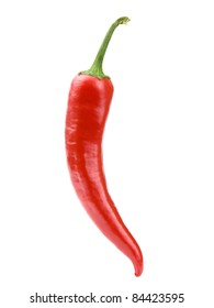 Hot chili peppers isolated on white + Clipping Path