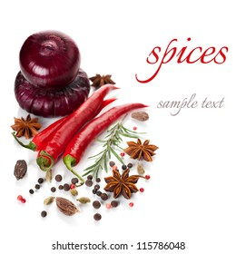 Hot chili peppers and spices on a white background (with sample text)