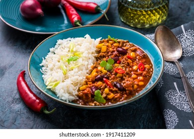 Hot  Chilli con carne with rice served in bowl