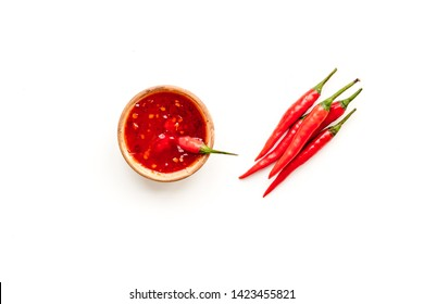 hot chilli pepper pattern on white background top view