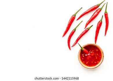 hot chilli pepper pattern on white background top view mock up