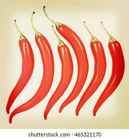Hot chilli pepper set isolated on white background. 3D illustration. Vintage style.