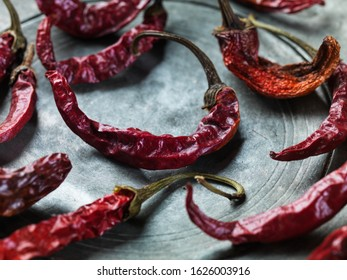 hot chilli peppers in a metal plate