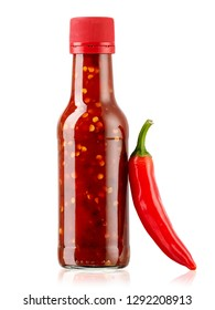 Hot chilli sauce bottle with a red hot pepper