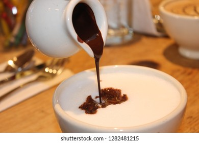 Hot chocolate in a cafe.