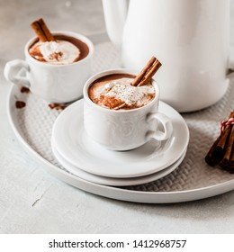 Hot Chocolate with Chili and Cinnamon Topped with Whipped Cream, square