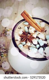 Hot Chocolate, Christmas art decoration with bokeh lights, beautiful festive toned image, selective focus