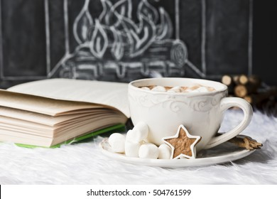 hot chocolate with christmas decoration