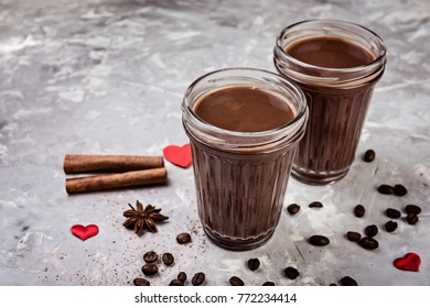 hot chocolate with  cinnamon and coffee beans,  selective focus