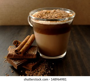 Hot chocolate with cream and cinnamon