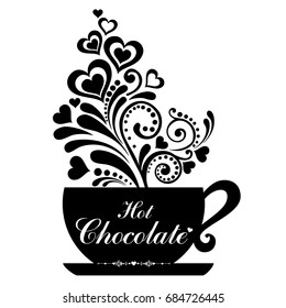 Hot Chocolate cup. Cup with floral design elements. Menu for restaurant, cafe, bar, tea-house.  Illustration
