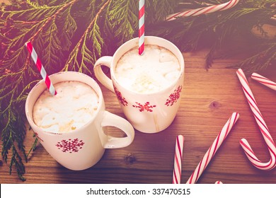 Hot chocolate garnished with home made marshmallows.