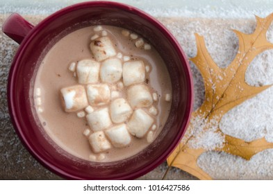 Hot chocolate with a leave